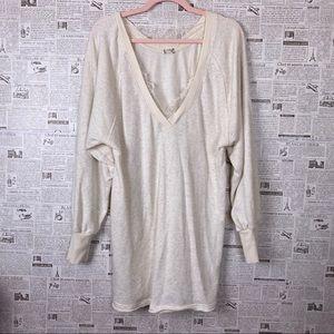 FREE PEOPLE Ivory Lace V Neck Sweatshirt Dress L